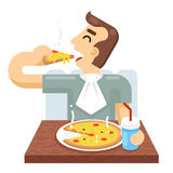 Man Eat Pizza Symbol Icon Concept Isolated Flat Design Vector Illustration Stock Photos