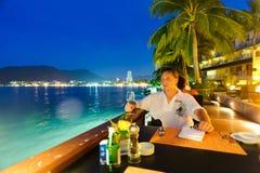 Man eat in restaurant Stock Image