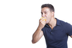 Man eating apple Stock Photos