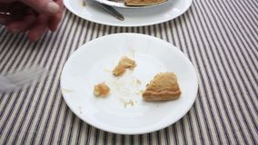 Man eating apple pie close view stock footage
