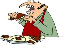 Man eating barbecue ribs. This illustration depicts a man wearing a bib while eating from a plate of barbecue ribs Royalty Free Stock Photos