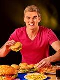 Man eating big sandwich Royalty Free Stock Photo