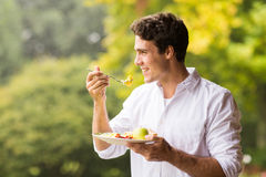 Man eating breakfast. Handsome young man eating scrambled egg for breakfast Stock Photography