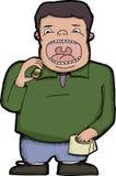 Man Eating a Burger. Man with big mouth eating one tiny hamburger Royalty Free Stock Photos
