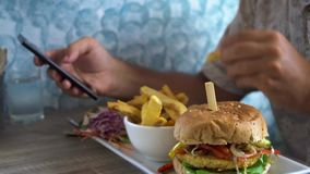Man Eating Burger with French Fries and Chatting on Phone. Shot with a Sony a6300 fps29,97 4k stock footage