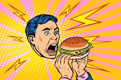 Man eating Burger. Pop art retro vector illustration kitsch vintage royalty free illustration