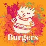 Man eating burgers Royalty Free Stock Images