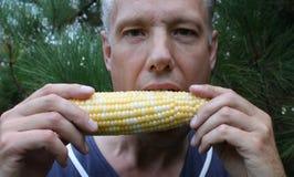 Man eating corn Stock Image