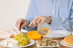 Man eating dinner Stock Photography