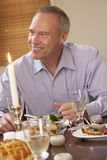 Man Eating Dinner At Home Stock Photography
