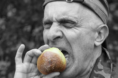 Man Eating Disquisting Food Royalty Free Stock Images