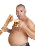 Man eating and drinking Royalty Free Stock Photography