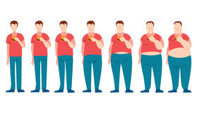 Man eating fast food and getting fatter. Royalty Free Stock Photography