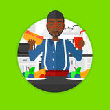 Man eating fast food vector illustration. Royalty Free Stock Photo