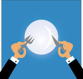 Man eating with fork and knife Royalty Free Stock Images