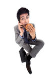Man eating hamburger Royalty Free Stock Photos