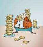 Man eating hamburgers. Illustration royalty free illustration