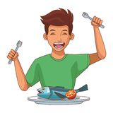 Man eating healthy food. Man eating seafood on dish healthy food vector illustration graphic design royalty free illustration