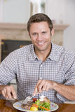 Man Eating Healthy meal, mealtime Together Stock Photo