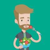Man eating healthy vegetable salad. A hipster man with the beard eating healthy vegetable salad. Young man enjoying fresh vegetable salad. Man holding fork and vector illustration