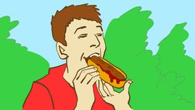 Cartoon man eating the hot dog in the park or bush. The man eating the hot dog in the park or on the picnic. Cartoon color  sketch.nBoy in red t-shirt eating hot Stock Images