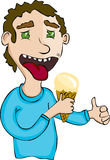 Man eating ice cream Stock Photo