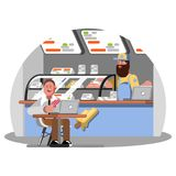 Man eating ice cream. On food court. Vector illustration, EPS 10 Stock Photography