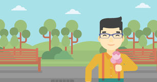 Man eating ice cream vector illustration. Royalty Free Stock Images