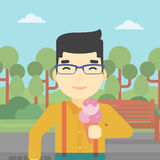 Man eating ice cream vector illustration. Stock Image