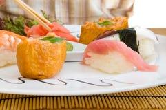 Man Eating an  Japanese Food . Royalty Free Stock Photo