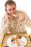 Man Eating an  Japanese Food . Stock Photo