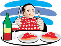 Man eating meat and drinking wine Royalty Free Stock Image