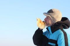 The man  eating pancake Stock Images