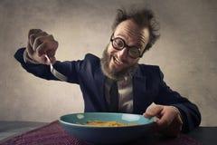 Man eating pasta Royalty Free Stock Photo