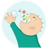 Man eating pills vector illustration