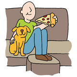 Man eating pizza slice with dog on sofa Stock Photo