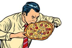 Man eating pizza,  on white background. Pop art retro vector illustration Stock Photo