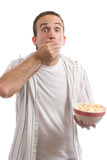 Man Eating Popcorn Stock Images