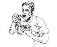 Man eating porridge with fruits. Hand drawn doodle, sketch in pop art style, vector illustration Stock Photography