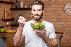 Free Man Eating Salad Royalty Free Stock Images - 85049079