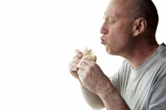 Man eating sandwich Stock Photos