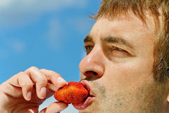 Man eating strawberry. Stock Images