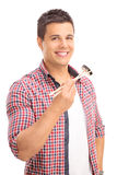 Man eating sushi with Chinese sticks Royalty Free Stock Photo