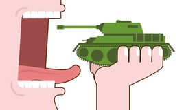 Man eating tank. Destruction of military transport. Open mouth w Royalty Free Stock Photos