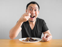 Free Man Eats Healthy Food. Stock Photography - 99264782