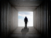 Man on the edge of the tunnel Stock Image