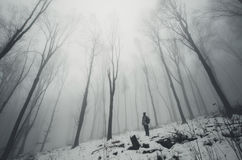 Man in eerie winter forest Stock Photos