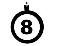 Man and eight ball. Closeup of dressed up man behind eight ball Royalty Free Stock Photos