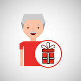 Man elderly with gift graphic Royalty Free Stock Image