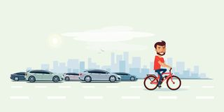 Man on Electric Bicycle on the Street with Cars behind. Vector illustration of smiling man riding an electric bicycle in the city with cars in cartoon style vector illustration